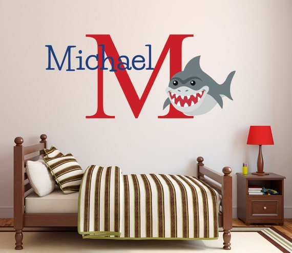 shark name wall decal personalized name wall decal shark. Black Bedroom Furniture Sets. Home Design Ideas