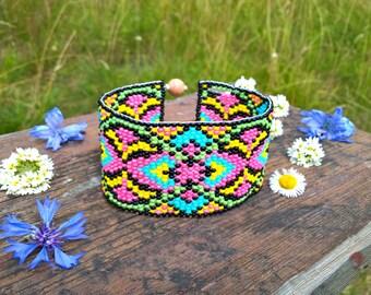 Mexico Festival Western Bead Cuff Bracelet, Bead Loom Bracelet, Mexican Loom Bead Bracelet, Southwestern Jewelry, Native America Jewelry