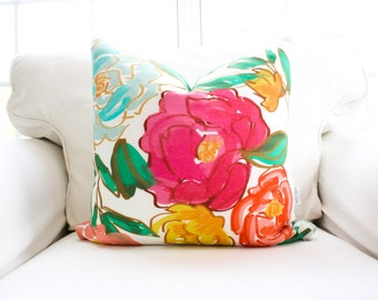 Spring Blooms Pillow Cover | Floral | Flowers | Bright | Pink | Blue | Green | 18x18