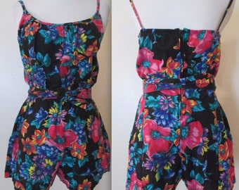 CATALINA Multi-Color Floral Spaghetti Strap Tie Waist Scoop Neck Shorts Romper/Playsuit/Swimsuit 6/Small