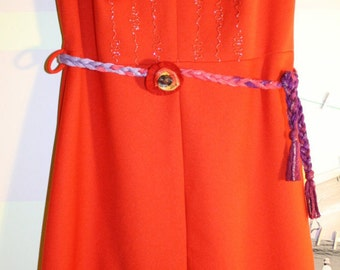 Red Charming Vintage Dress with Braided Belt