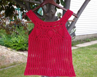Cherry red crochet lacy woman's top