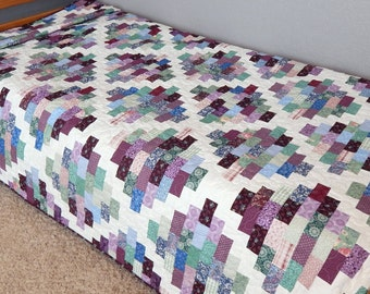 Twin Quilt Blanket, Purple Quilt, Modern Quilt, Handmade Quilt for Sale, Twin Bedding, Blanket, Bed Quilt, Ready to Ship