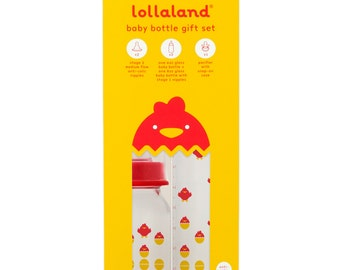 Lollaland Glass Baby Bottle with Anti-Colic Nipple Gift Set (Made in Germany)