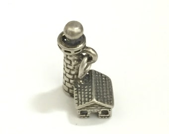 Lighthouse and house silver charm
