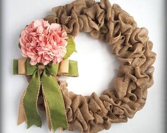 Burlap Wreath-Front Door Wreath-Spring Wreath-Wreath for Front Door-Front Door Decoration-Hydrangea Wreath-Rustic Wreath-Burlap Spring Wreat