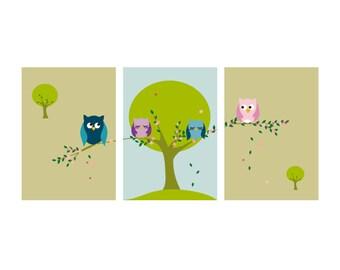 "Owls Children's Art Kids Wall Art Baby Boy Baby Girl Nursery Playroom Kids Nature Trees Print set of 3 8""x10"""