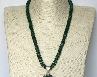 Silver Green Jade Pendant Necklace Set