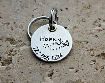 Dog Tag - Pet ID Tag - Pet Name Tag - Dog Collar Tag - Personalized Tag - Custom Dog Name Tag - Hand Stamped Dog Tag - Puppy Tag - Honey Bee