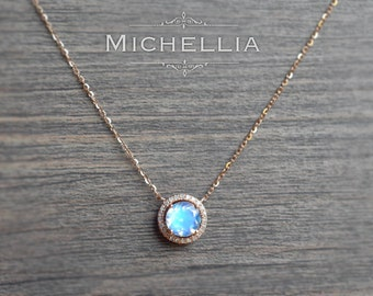 Petite Halo Diamond Necklace in Moonstone, Rainbow Moonstone Halo Diamond Necklace, Available in 14K or 18K Solid Gold and Platinum, N4001