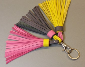 Leather tassel, tassel keychain, grey, pink, yellow tassel, leather tassel key ring  Purse charm Mothers day gift Tassels for handbags