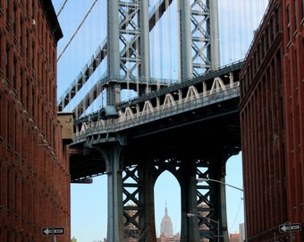 Manhattan Bridge with Empire State Building and yellow cab, New York NYC, Brooklyn