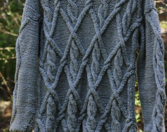 Grey handmade knitted sweater