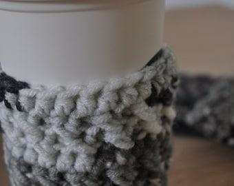 Snow White & Grey Crochet Coffee or Team Cozy