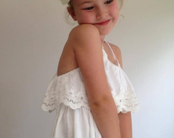 The Evie Flower Girl Dress - Boho Flower Girl Dress, Boho Wedding, Beach Wedding, Girls Lace Dress, Boho Style Dress