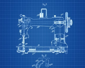 Sewing Machine Patent - Sewing Room Decor, Craft Room Decor, Tailor Decor, Vintage Sewing Machine, Sewing Machine Blueprint
