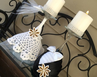 Set of two bride and groom candle holders, wedding table decor, set of 2 wedding candles, tall decor, bride and groom centerpieces, kanzashi