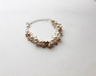 White and Ivory Pearl Cluster Bracelet