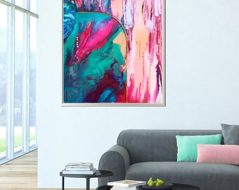 Abstract art print, stretched canvas print from original acrylic painting, modern, bright, bold, turquoise, pink, blue, wall art, decor