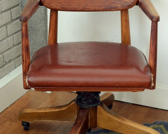 Vintage Industrial Mid Century Office Chair Walnut