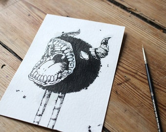 ORIGINAL Monster postcard, horned creature, ink resist technique