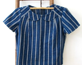 Natural Indigo dyed hand spun & hand woven scoop top with petit Peter Pan-collar - IB3