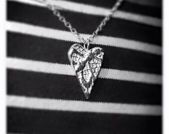 Lace Embellished Sterling Silver Heart Necklace