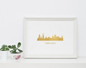 Gold foil print, Cityscape art, Chicago cityscape, Chicago skyline, Chicago art, Cityscape print, Gold office decor, Gold art, Illinois, Art