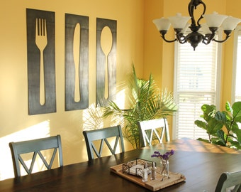 Fork Knife Spoon Decor Panels  |  farmhouse kitchen dining room metal decor