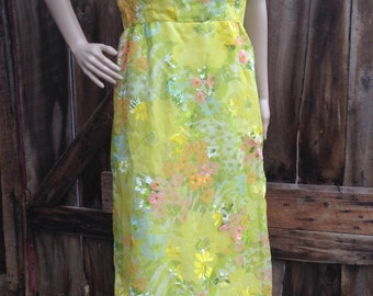 Hippie boho dress, vintage maxi dress, 70s maxi dress, long floral dress, floral hippie dress, yellow dress, high neck dress,