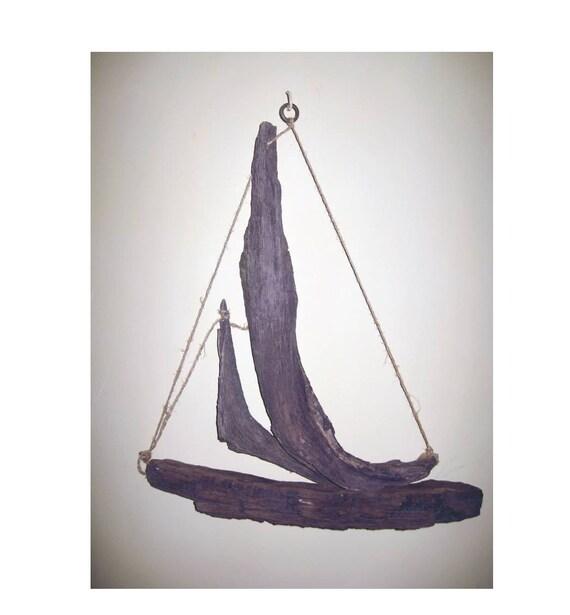 Wood Sailboat Wall Decor : Driftwood beach decor sculpture boat hanging sailboat rustic