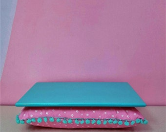 Lap desk, lapdesk designed by Elekbas, cushion tray, fsncy laptop desk, lap desk, Formica lap desk, turquoise and Pink, bed tray
