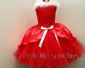 Christmas knee length santa tutu dress age 1 upwards
