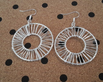 Silver Wire Wrapped Circle Earrings