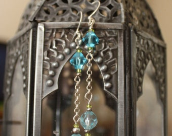 up-cycled blue crystal dangle earrings with green and silver beads