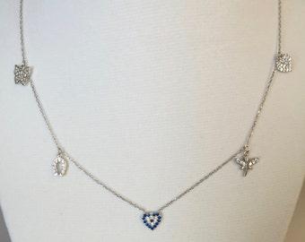 Evil Eye Necklace, Heart Evil Eye Charm Necklace, Sterling Silver Evil Eye Necklace, Evil Eye Jewelry