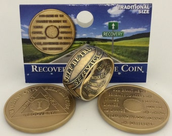 AA Recovery Ring with Sobriety date