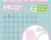 54 Anchors svg, Monogram Frames, Patterned anchor svg, screen printing, SVG, DXF, EPS, Cut File, Silhouette Studio, Cricut, Vinyl Cutters