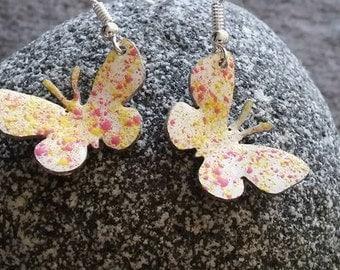 Enamel and Copper earrings, Enamel earrings, Copper earrings, Copper jewellery, Butterfly, Dangle earrings, Mothers day or Birthday gift