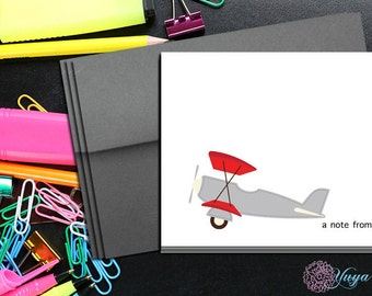 Personalized Kids Stationery / Custom airplane Stationery / Personalized Stationery Set / Custom plane notes/ Set of 12 kid thank you cards