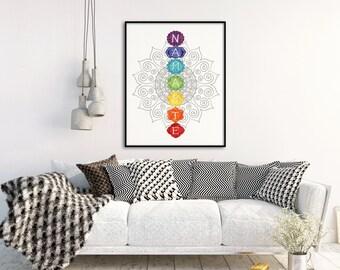 Chakra Print - Chakra Print - Namaste Wall Decor - Yoga Wall Art - Rainbow Chakra Digital Print - Yoga Studio Wall art - Meditation Decor