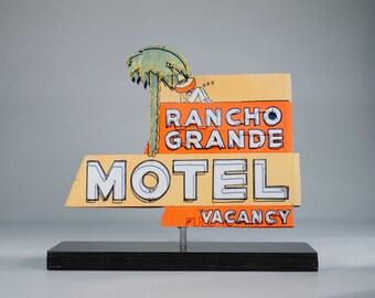 Rancho Grande Motel vintage neon sign / Motel sign / route 66 sign / mid century modern / retro roadside decor / 50's decor / neon sign