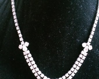 Vintage Double Rhinestone Silver Tone Necklace