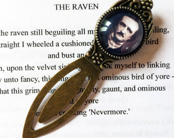 Edgar Allan Poe Bookmark - Edgar Allan Poe Gift, The Raven, Steampunk Bookmark, Tales of Mystery and Macabre, Gothic Poetry Bookmark