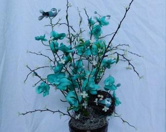 Teal Bird Floral Arrangement