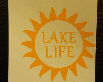 Lake Life Decal - permanent vinyl - perfect for Yeti & Rtic cups, phones, laptops, windows boats etc.