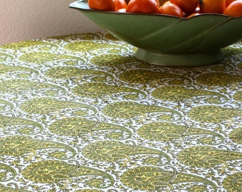 Circular Indian Paisley wood-blocked tablecloth.