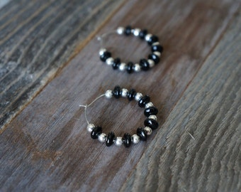Black and Silver Beaded Hoops, Wire-Loop Earrings, Beaded Hoop Earrings, Handmade Earrings, Black and Silver Earrings