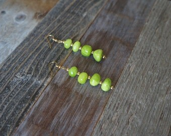 Green and Gold Drop Earrings, Green Stone Earrings, Dangle Earrings, Handmade Earrings, Lime Green and Gold