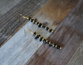 Black and Gold Drop Earrings, Dangle Earrings, Black Stone Earrings, Handmade Earrings, Black and Gold Earrings